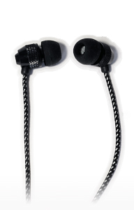 Short Buds - Short Cord Stereo Earbuds (In-Ear) with Farbic-wrapped Cords